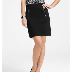 Ann Taylor Black Ponte Zipper Pocket Work Skirt